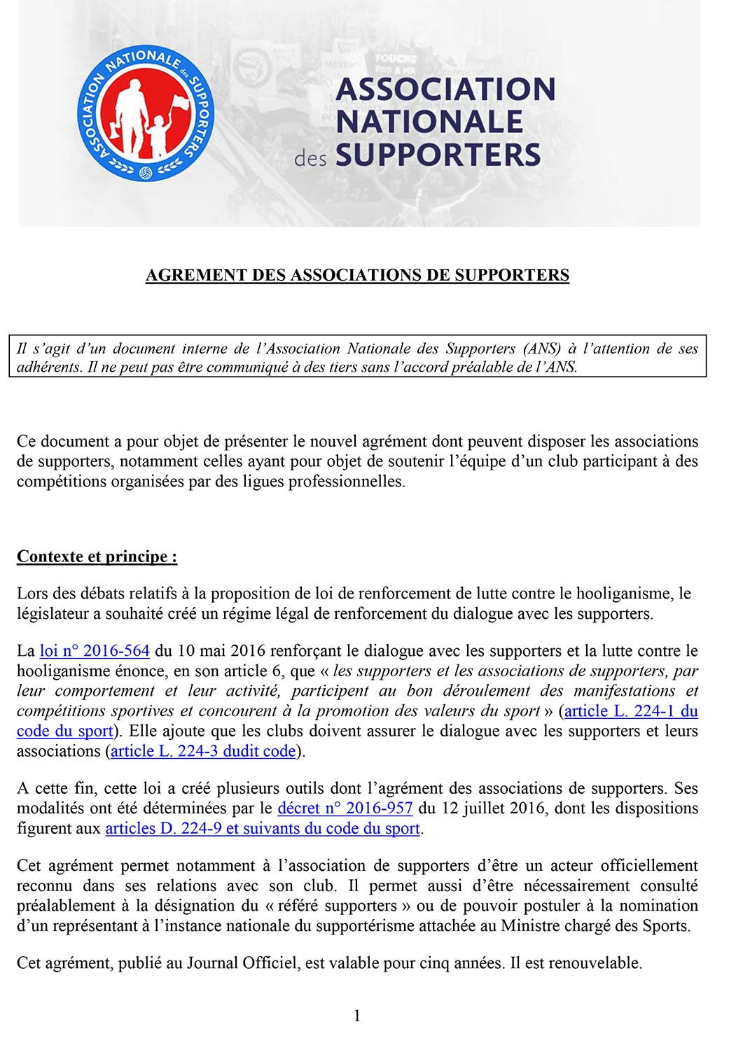 Agrement supporters ANS 1