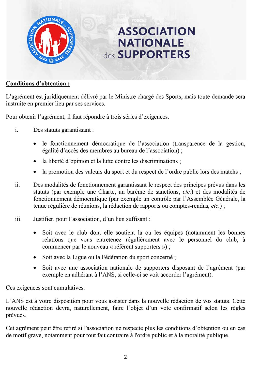 Agrement supporters ANS 2