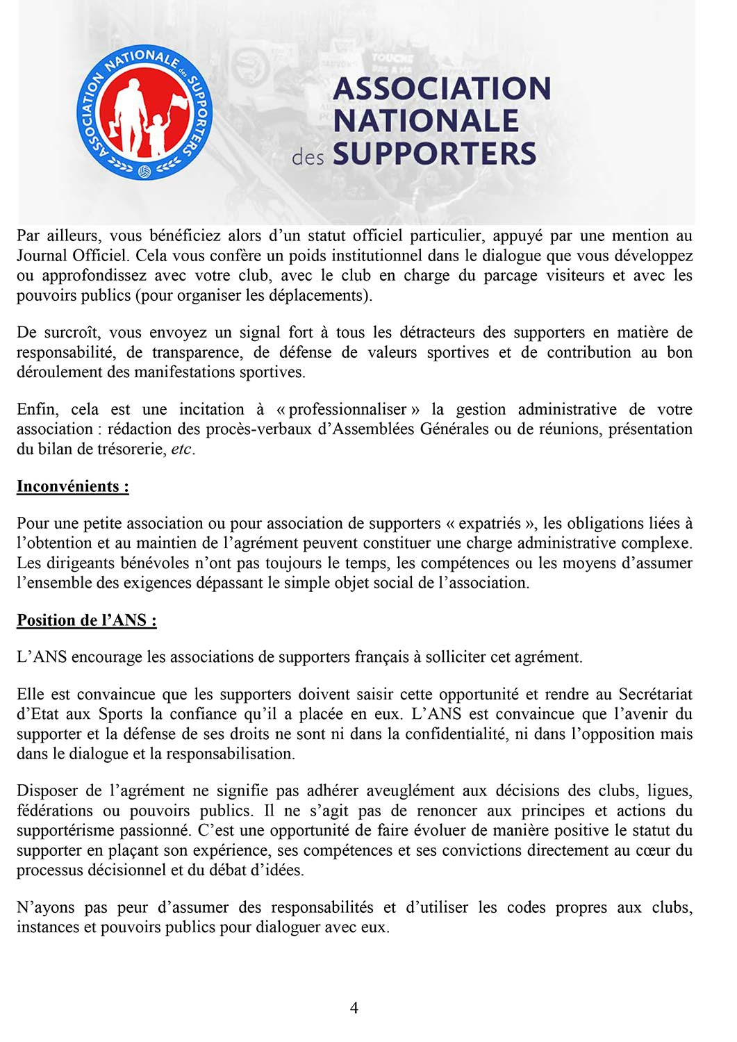 Agrement supporters ANS 4